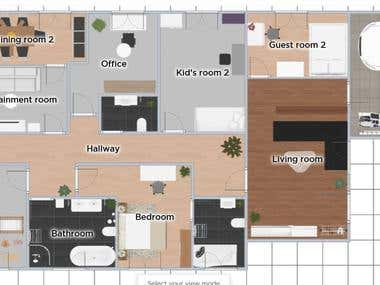 Interior Design Floor plan and 3D plan samples