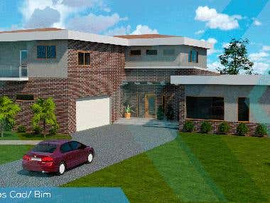 House design render with 3dsMax (BIM)
