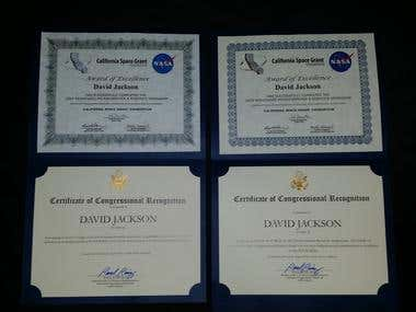 US Congressional Recognition/Award of Excellence - NASA 2018