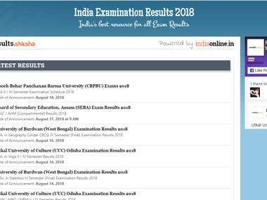 Portal for Exams Results
