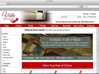 Vista Rugs eCommerce website