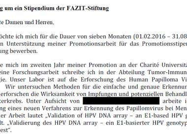 Translation: PhD Grant Request (English-German, for private)