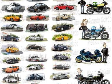 Cars and Bikes Illustrations