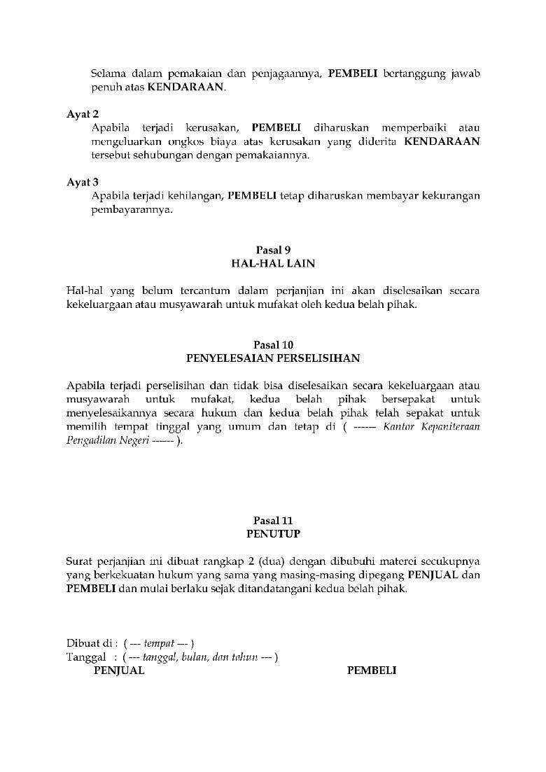 Surat Perjanjian Jual Beli Mobil Freelancer