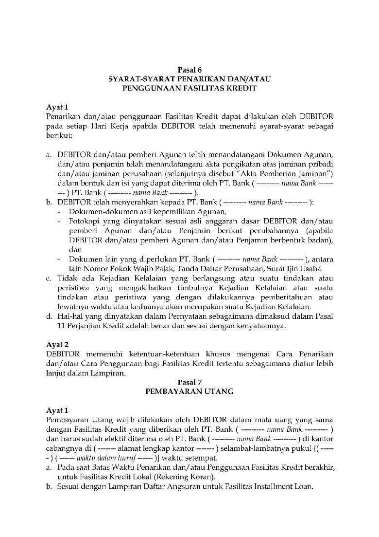 Surat Perjanjian Kredit Freelancer