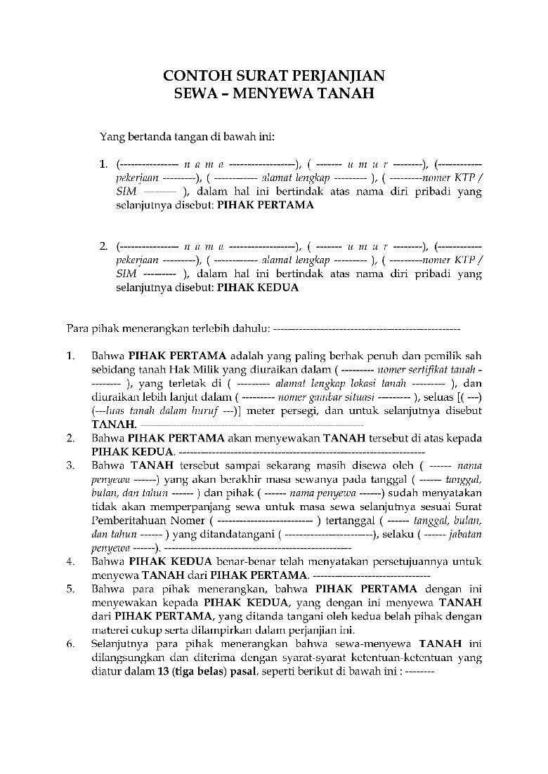 Surat Perjanjian Sewa Tanah Freelancer