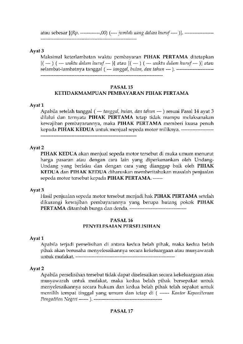 Surat Perjanjian Gadai Motor Freelancer