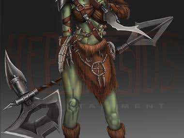 Green Orc Female Character