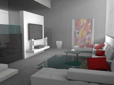 Living room render 3D Visualization