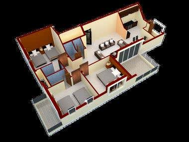 3D renders of a residential apartment