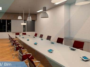 Office Room designed with Revit and render for autodesk(BIM)