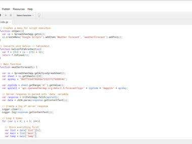 GoogleScript/JavaScript (Weather Forecast)