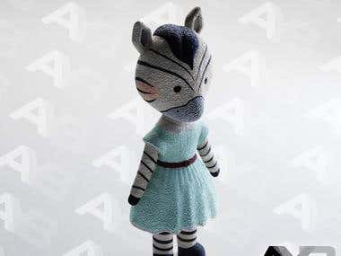 Plush Zebra Toy - 3D Visualization