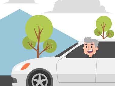 Riding a car illustration