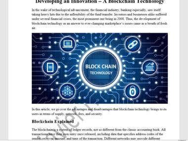 Developing an Innovation – A Blockchain Technology