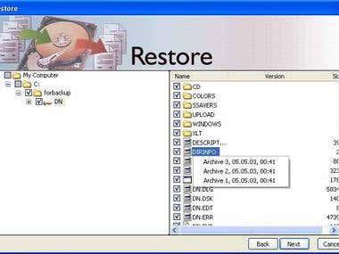 Backup application
