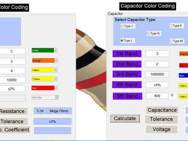 Matlab GUI for resistor and capacitor color coding.