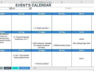 Event Calendar (Format for Event Reminder)