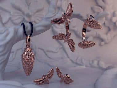 Golden set of insects jewelry
