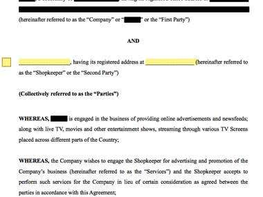 Advertisement Promotion Agreement