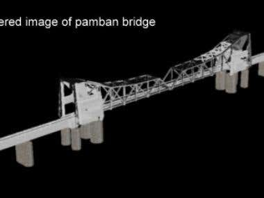 3D rendered image of pamban bridge