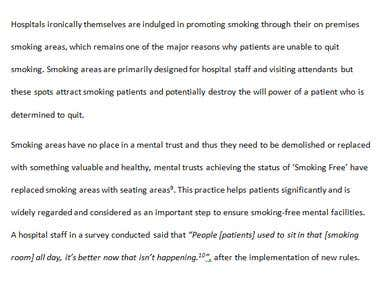Report on Smoking Cessation in Secondary Care