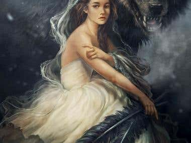 portrait of a girl and wolf
