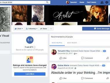 FB Business Page Customs 5 star Reviews or Recommendation