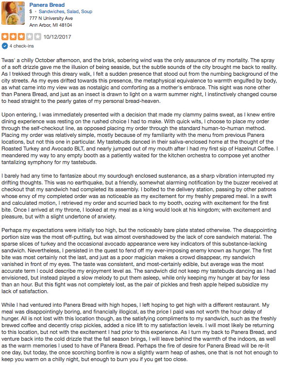I Have Written Several Yelp Reviews That Accurately Display My Unique Writing Style Originally Igned For A Cl Project Found