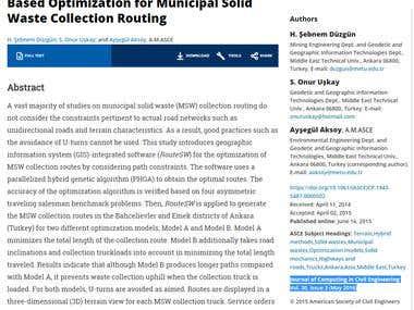 Publication - Route Optimization