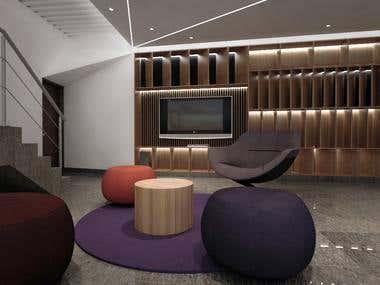 enterteiment room for a luxury villa