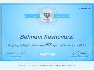 Typing Speed Certificate!