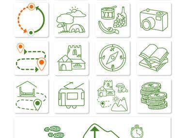 Icons, logo, maps and flyer.