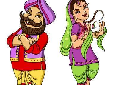 Punjabi bhangra dancing character