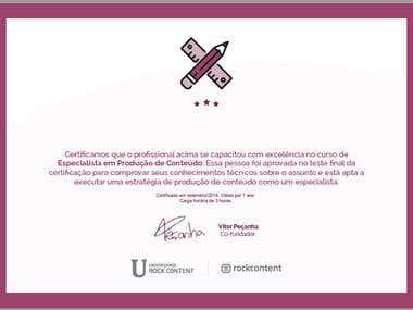 Certificado Produção de Conteúdo para Web