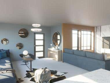 Design idea for kitchen & living room