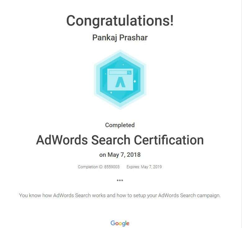 Google Search Certificate Freelancer