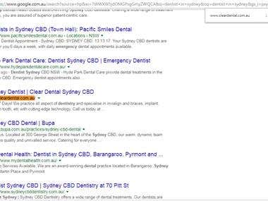 SEO for Sydney Dentist , Google First page