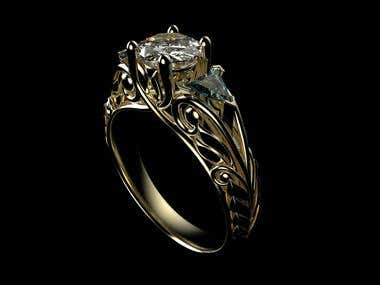 Art Nouveau Ring Modeling