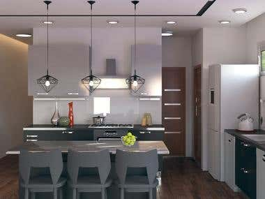 Kitchen Design and Render for 2 floors house in Australia
