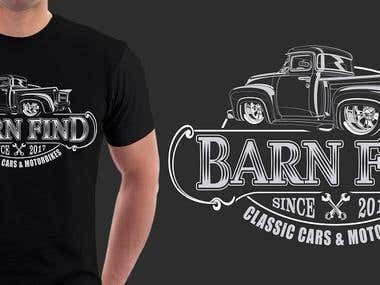 T-shirt design for classic car restoration brand