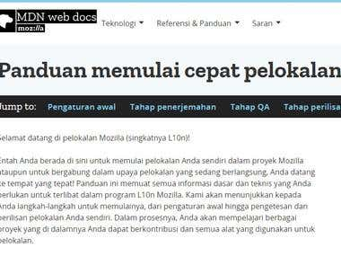 Translation of Mozilla Developer Network site