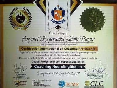 Diploma certificación de coaching internacional