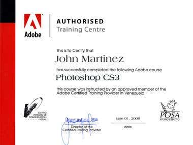 My certifications as a graphic designer