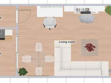 Mini Modern Living Room Plus Dining Room
