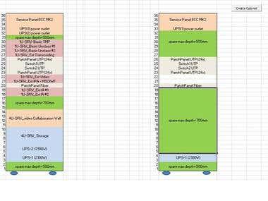 Excel macro create IT servers cabinet configuration