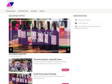 Page template for polish blog about wine