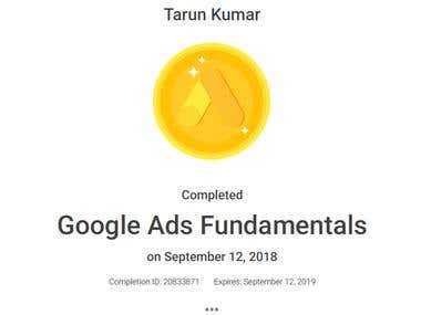 Google Ads Fundamentals Passed on September 12, 2018
