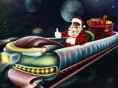 Santa drive his futuristic sledge