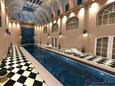 Luxury indoor swimming pool and waterfall 3D Rendering